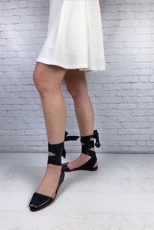 Christian Louboutin Leather Ankle Wrap Sandals, Size 41