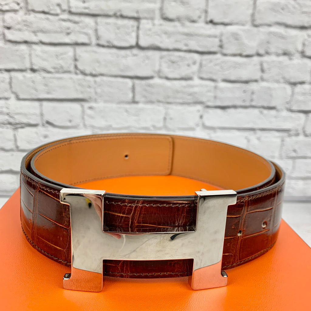 Hermes Constance Belt Kit Crocodile Strap & Palladium plated Buckle 38 mm