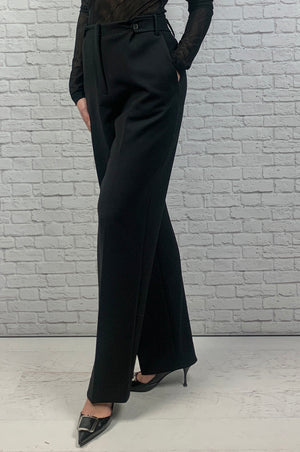 The Row Matea high-rise linen-blend pants, Black, New Size 8
