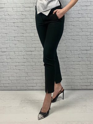 Tibi Split-Cuff Trousers, Black Size 6