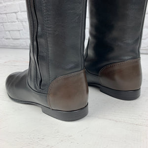Chanel Tall Leather Riding Boots, Black/Brown Size 36
