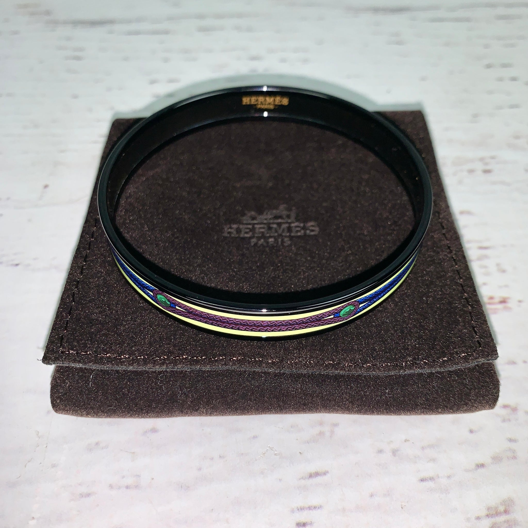 Hermes Narrow Enamel Bangle, Interlocking Rope Motif, Black/Multi