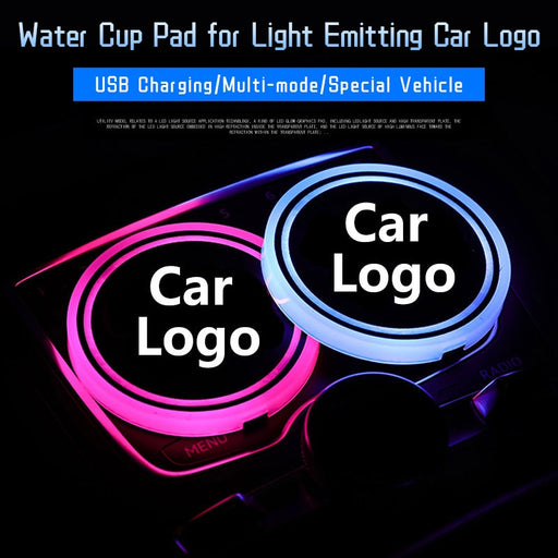 Car Accessories Interior Universal Led Car Cup Holder Bottom Pad Mat LED Light Cover Trim Atmosphere Lights Up Ornaments - Ahhroma