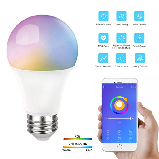 10Pcs 10W Voice Control LED Bulb Smart Bulb 806LM E27 RGB+CCT eWeLink APP Remote Control Smart Bulb Work With Alexa Google Home - Ahhroma