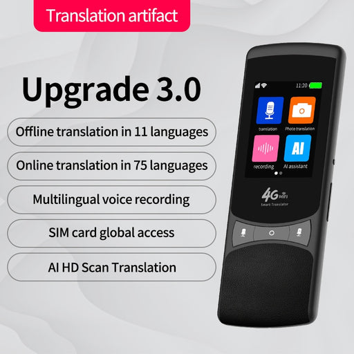 Smart AI Instant Voice Photo Scanning Translator 2.4 Inch Touch Screen Wifi Support Offline Portable Multi-language Translation - Ahhroma