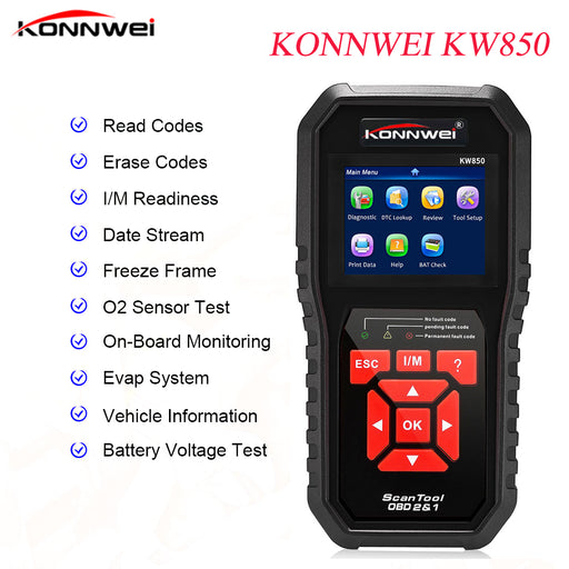 2019 KONNWEI KW850 OBD2 Auto Diagnostic Scanner Universal OBD Car Diagnostic Tool ODB2 Check Engine Automotive Car Code Reader - Ahhroma