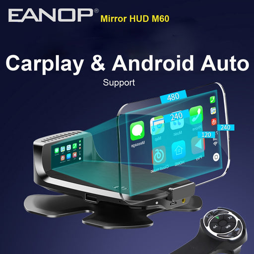 EANOP HUD 2020 M60 OBD2 Car Head up display Speed RPM Projector  with Wireless Remoter  Support Carplay Andorid Auto Car Charger - Ahhroma