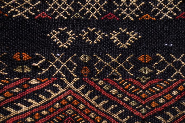 Close up of Brown and Black Vintage Moroccan Rug