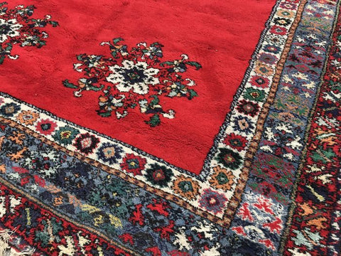 Red Rabat Rug with Floral Patterns