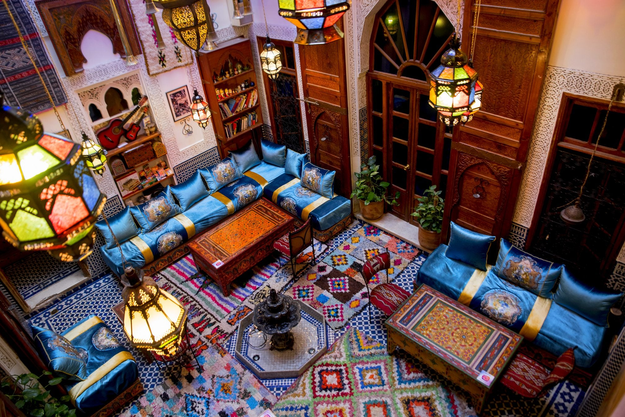 Berber riad with moroccan carpets
