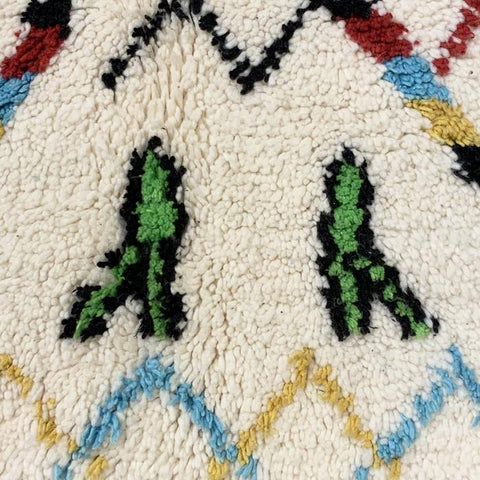 Close up of Green, Cyan and Yellow Symbols on a Moroccan Carpet
