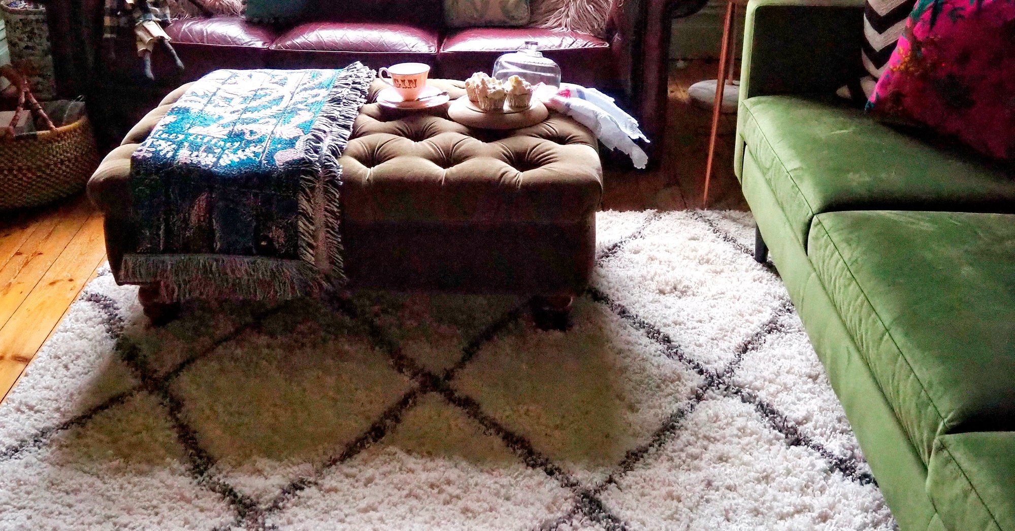 berber wool rug in a living room with furniture