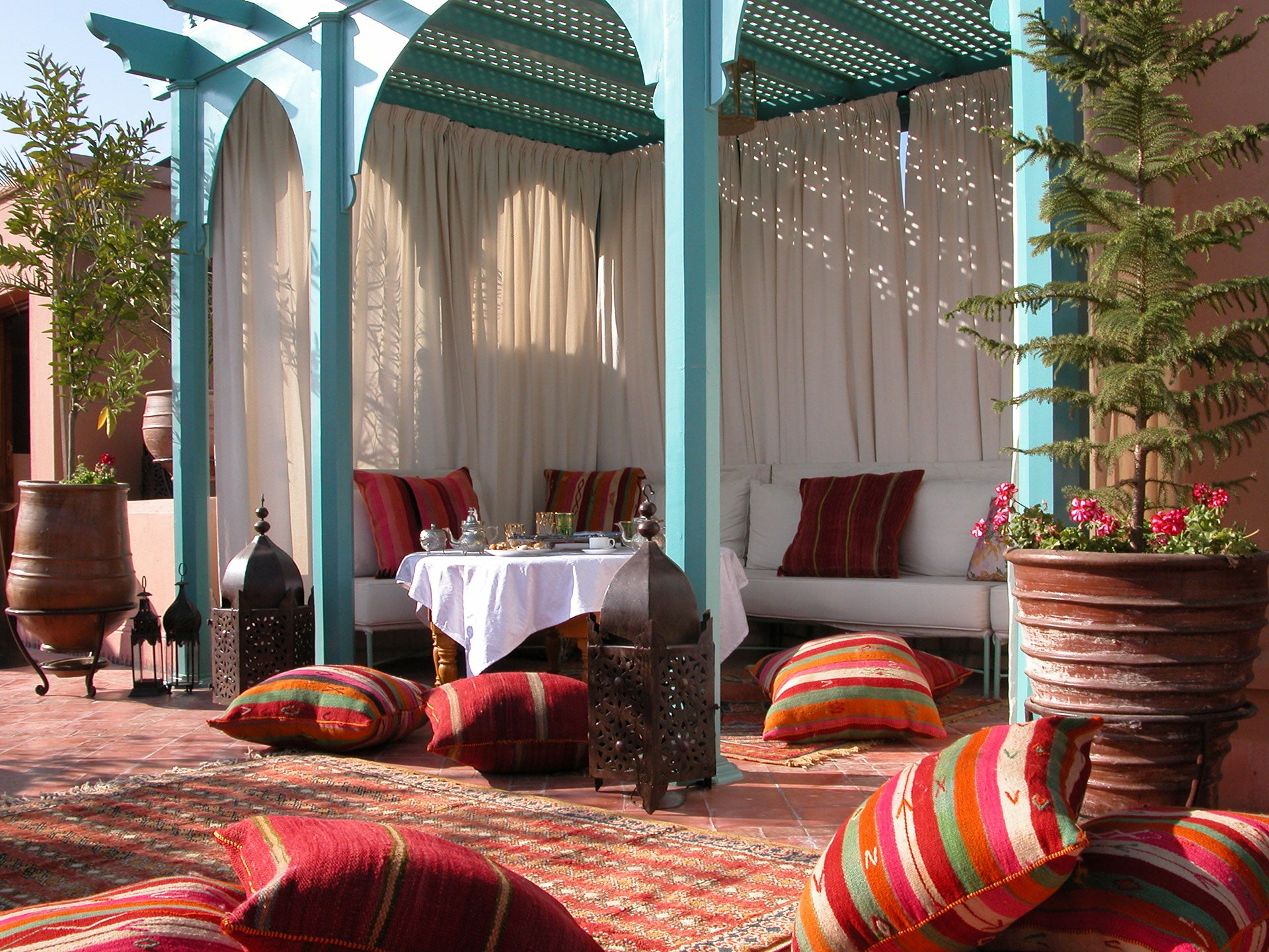 moroccan riad with berber carpets