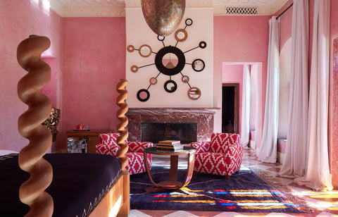Abstract Moroccan Wool Rug in a Riad