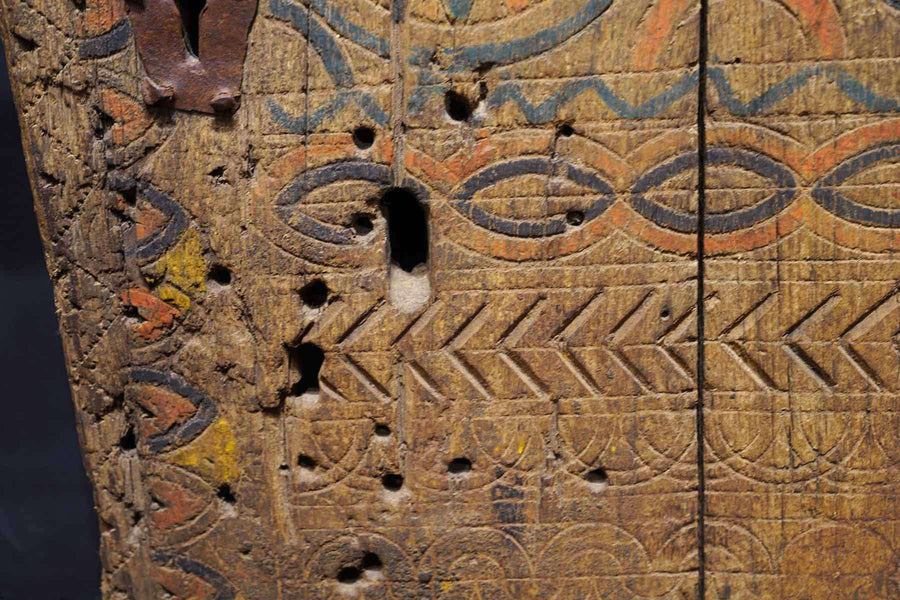 holes and wears on an Antique Moroccan Riad Door
