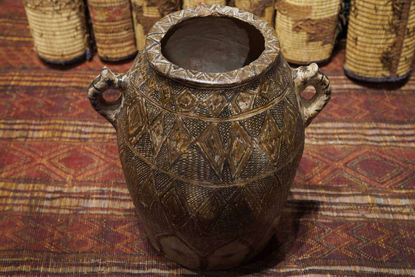 brown Antique Moroccan Pot at an art gallery