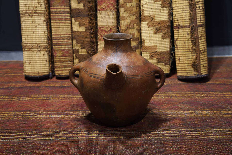 dark brown Antique Moroccan Pot from the front