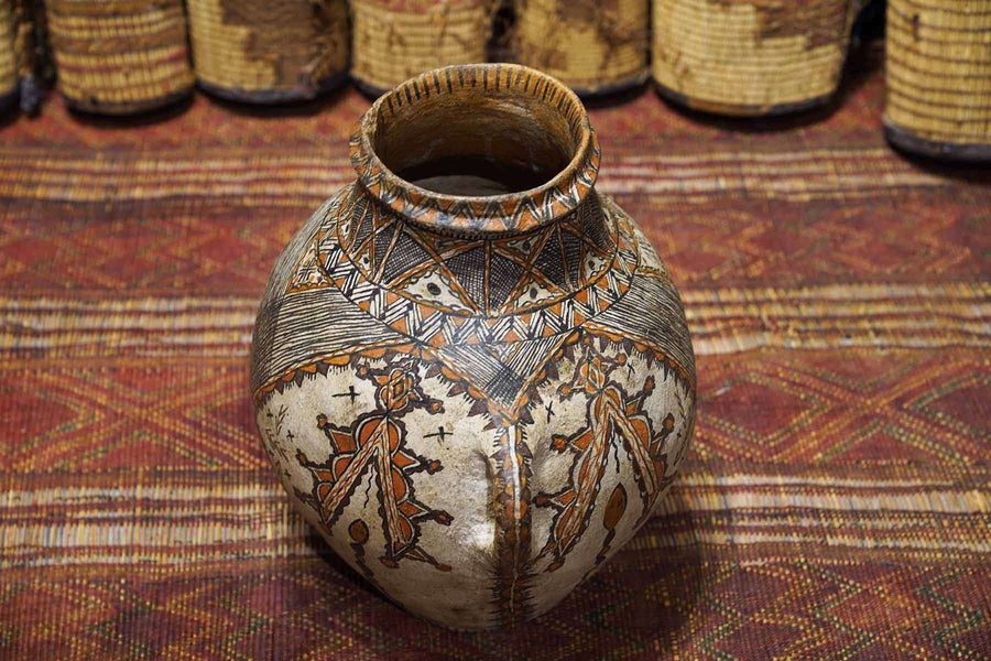 Antique Moroccan Pot with distinct patterns shot from above
