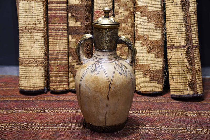 elegant, beige, Moroccan Antique Pot with a metal upper end