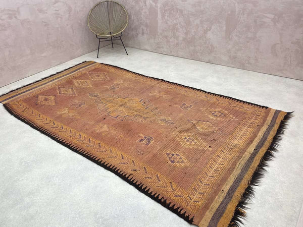 Reddish orange, patterned, and colourful Moroccan Vintage Rug