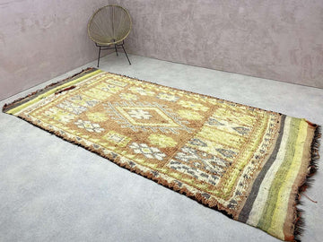 beige and orange unique Moroccan Abstract Rug