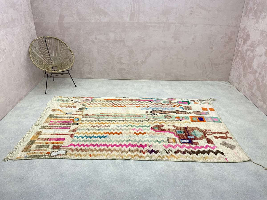 green Artistic Moroccan Wool Rug with beige patterns and fringes