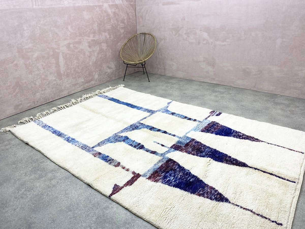 striped beige and black Wool Moroccan Rug