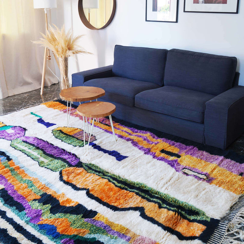 Artistic Moroccan Rug in a living room