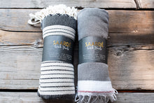 Load image into Gallery viewer, Turkish Towel, variegated black stripes  #turkishtowel #madeinTurkey www.bowlandpitcher.com