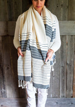 Load image into Gallery viewer, Turkish Towel, variegated black stripes 100% cotton #madeinTurkey www.bowlandpitcher.com