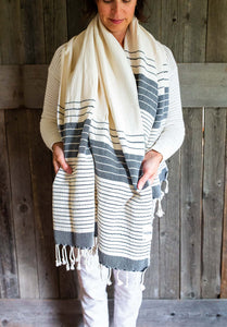 Turkish Towel, variegated black stripes 100% cotton #madeinTurkey www.bowlandpitcher.com