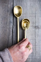 Square Handle Brass Serving Spoons