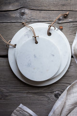 set of 3 white marble cheese boards