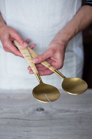 Gio Brass & Rattan Salad Servers