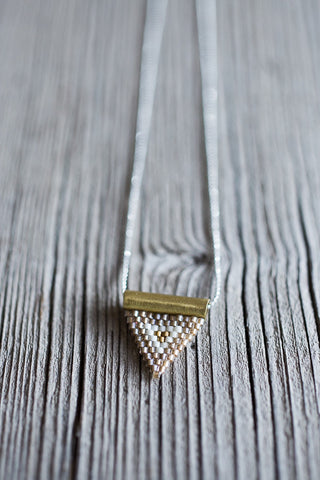 Brass Bail Beaded Triangle Pendant