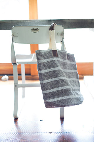 Washed Linen Striped Tote