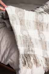 Linen throw from jacquard circles and squares. 100% Linen, hand fringed. #throw #doingneutralright