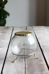 Hand Blown Seed Glass Cookie Jar w/ brass lid and stand...#cookiejar #Moderncookiejar