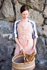 Grand Apron in Salmon Linen, 100% linen, brass details, contrasting ties and extra long length