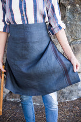 Charcoal colored 100% linen towel doubles as an apron #linenapron #apron