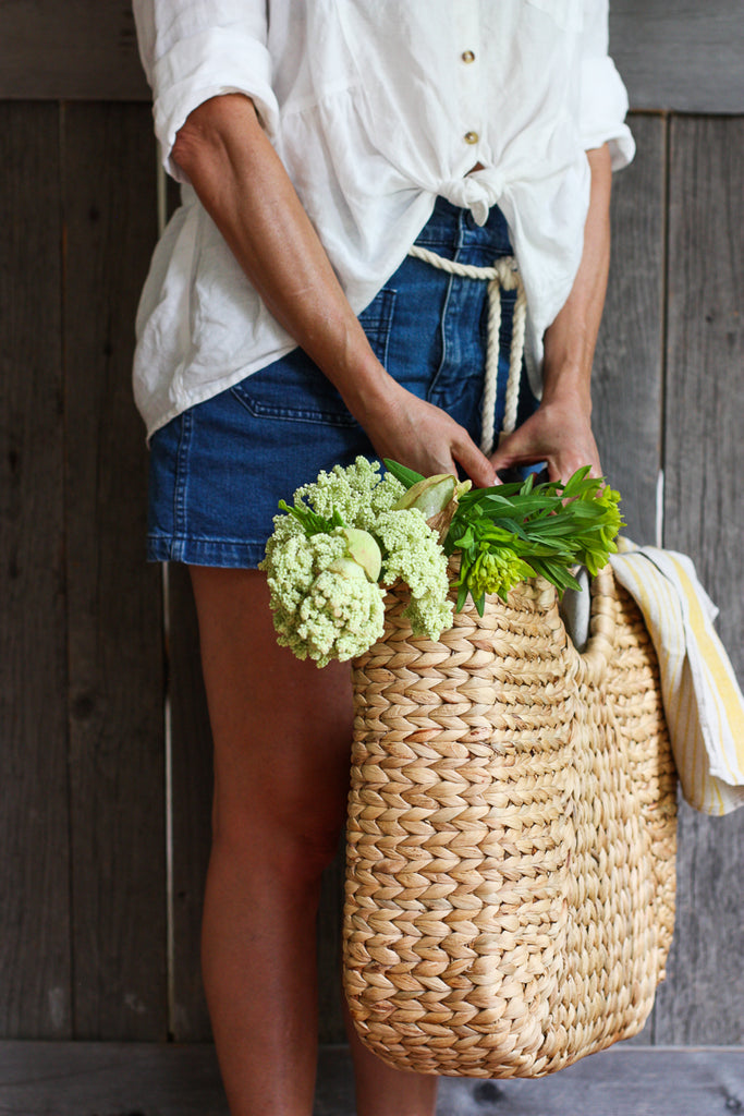 Water Hyacinth basket or tote with handles #basket #tote #picnic