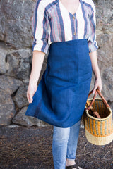 Indigo colored 100% linen towel doubles as an apron #linenapron #apron