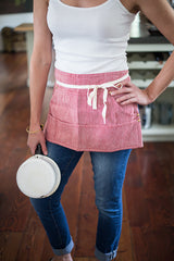 Half Apron in linen or cotton/linen blend for kitchen or garden | www.bowlandpitcher.com