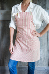 striped cotton apron with ticking ties