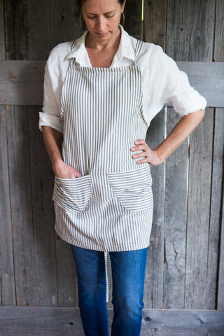 Striped Cotton Apron | Cross Straps