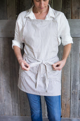cross back apron with blue & white stripes | bowlandpitcher.com