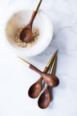 Mini wood tidbit spoons, brass tips #spoons #minispoons