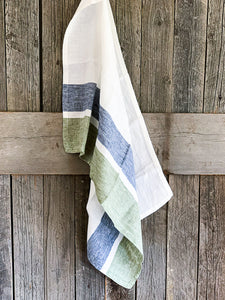 Bold Stripe Kitchen Tea Towel | www.bowlandpitcher.com #LinenTeaTowel #Frenchkitchen