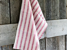 Load image into Gallery viewer, Linen Tea Towel in red and natural stripes | www.bowlandpitcher.com #linenteatowel
