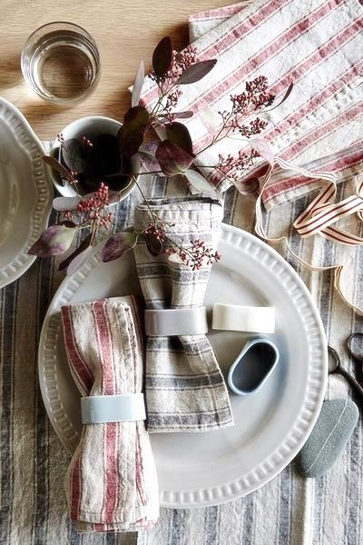 Linen Tea Towel in red and natural stripes | www.bowlandpitcher.com #linenteatowel